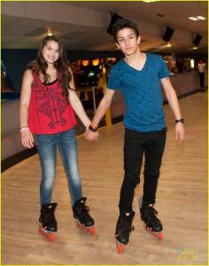 **EXCLUSIVE** Disney star Paris Berelc and Aramis Knight go roller skating at Skateland
