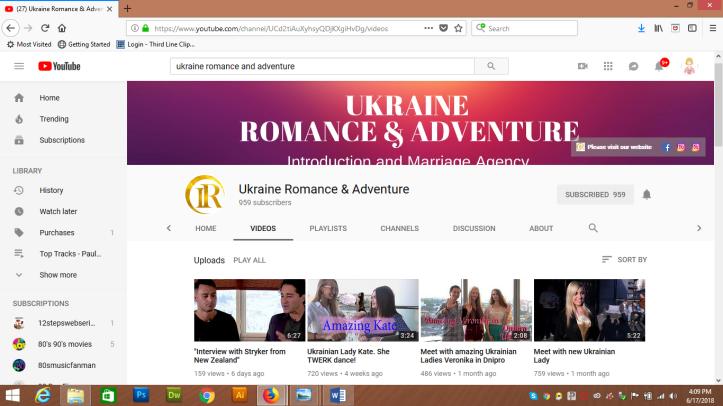 Ukraine Romance and Adventure - YouTube channel