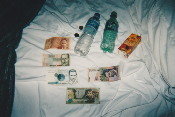 Colombian money and drinks