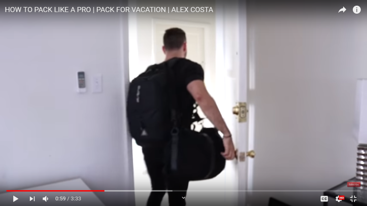 man packing and leaving for trip