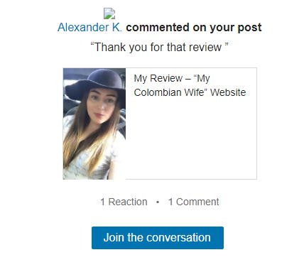 feedback from Alexander K of My Colombian Wife website